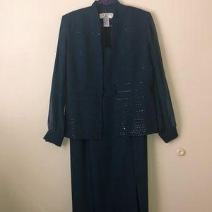 J.R. Nites Sleeveless Dress with Beaded Jacket 12
